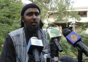 Al Shabaab&#039;s spokesman Rage addresses a news conference in Mogadishu, in reaction to the just concluded AU Summit